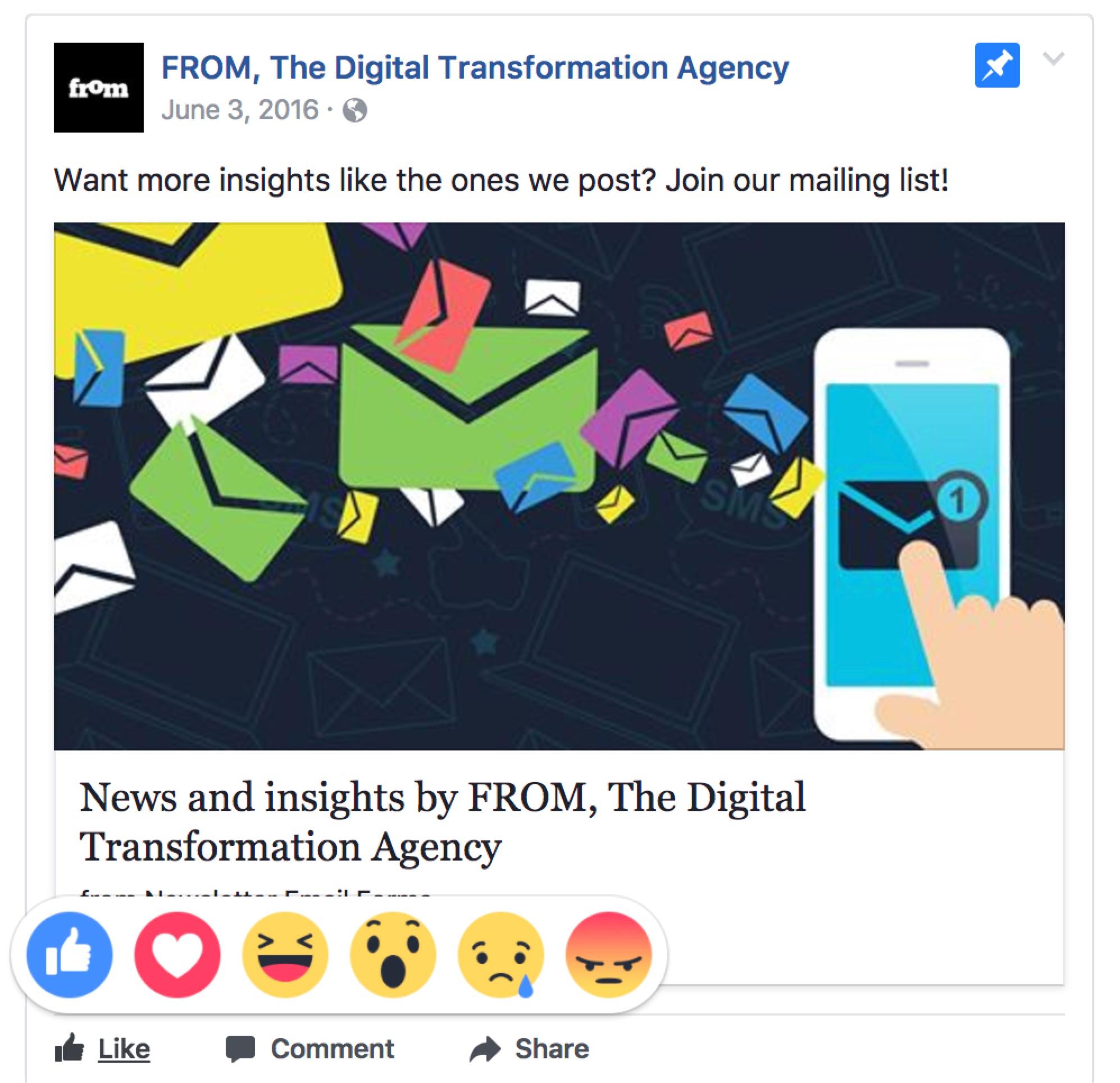 Screenshot of Facebook emotional reaction feature